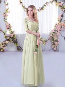 Yellow Green V-neck Neckline Lace and Belt Wedding Party Dress Half Sleeves Side Zipper