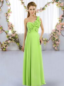 Sleeveless Hand Made Flower Floor Length Bridesmaid Dress
