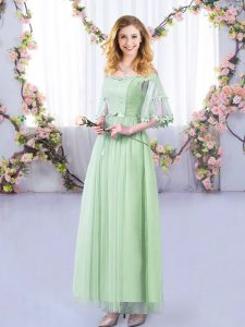 New Style Floor Length Apple Green Wedding Guest Dresses Off The Shoulder Half Sleeves Side Zipper