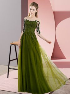 Modern Bateau Half Sleeves Wedding Guest Dresses Floor Length Beading and Lace Olive Green Chiffon