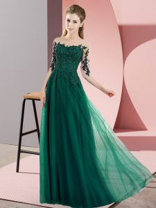 Exceptional Floor Length Dark Green Wedding Party Dress Chiffon Half Sleeves Beading and Lace