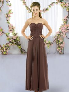 Brown Chiffon Lace Up Sweetheart Sleeveless Floor Length Bridesmaid Dress Ruching