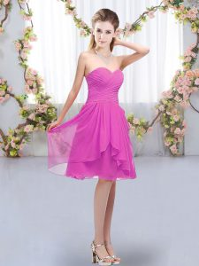 Fuchsia Sleeveless Chiffon Lace Up Wedding Guest Dresses for Wedding Party