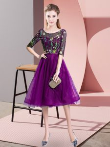 Tulle Scoop Half Sleeves Lace Up Embroidery Bridesmaids Dress in Purple