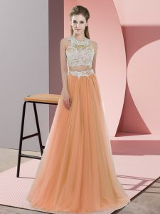 High Quality Orange Tulle Zipper Bridesmaid Gown Sleeveless Floor Length Lace