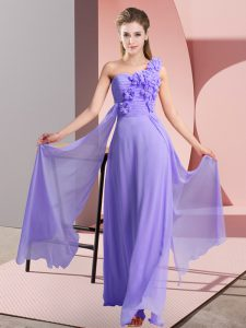 Traditional Lavender Sleeveless Floor Length Hand Made Flower Lace Up Bridesmaids Dress