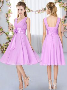 Chiffon V-neck Sleeveless Lace Up Hand Made Flower Bridesmaid Dresses in Lilac