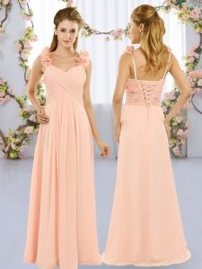 Trendy Peach Empire Straps Sleeveless Chiffon Floor Length Lace Up Hand Made Flower Wedding Guest Dresses