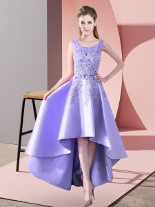 Flirting Lavender A-line Satin Scoop Sleeveless Lace High Low Zipper Wedding Guest Dresses