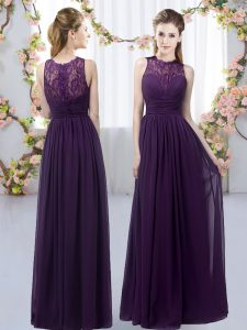 Dark Purple Chiffon Zipper Bridesmaid Dress Sleeveless Floor Length Lace