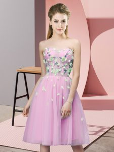 Best Rose Pink Empire Sweetheart Sleeveless Tulle Knee Length Lace Up Appliques Wedding Party Dress