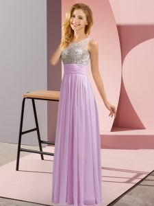 Chiffon Scoop Sleeveless Side Zipper Beading Bridesmaid Dresses in Lavender