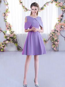 Admirable Half Sleeves Mini Length Ruching Zipper Wedding Guest Dresses with Lavender