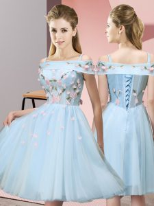 Knee Length Lace Up Wedding Party Dress Light Blue for Wedding Party with Appliques