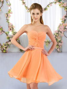 Empire Wedding Guest Dresses Orange Sweetheart Chiffon Sleeveless Mini Length Lace Up