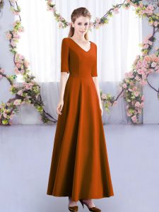 Sweet Half Sleeves Ankle Length Ruching Zipper Wedding Party Dress with Rust Red