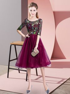 Super Fuchsia Lace Up Scoop Embroidery Bridesmaid Dress Tulle Half Sleeves