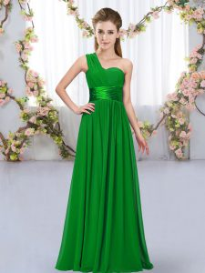 Dark Green Sleeveless Chiffon Lace Up Wedding Guest Dresses for Wedding Party