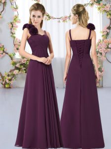 Chiffon Sleeveless Floor Length Bridesmaid Dresses and Hand Made Flower
