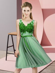 Sophisticated Knee Length Lace Up Bridesmaid Dress Green for Wedding Party with Appliques
