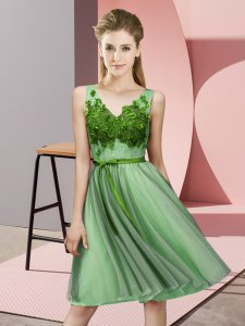 V-neck Sleeveless Lace Up Bridesmaid Dresses Apple Green Tulle