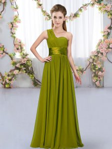 Fashion One Shoulder Sleeveless Lace Up Wedding Party Dress Olive Green Chiffon