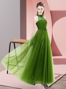 Floor Length Lace Up Wedding Party Dress Olive Green for Wedding Party with Beading and Appliques