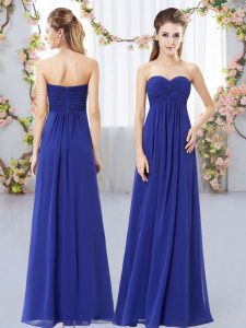 Floor Length Zipper Wedding Guest Dresses Royal Blue for Wedding Party with Ruching