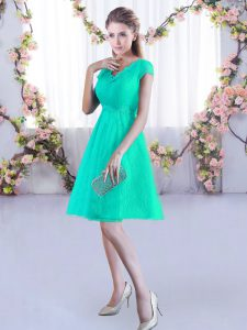 Luxurious Lace Cap Sleeves Mini Length Bridesmaids Dress and Ruching