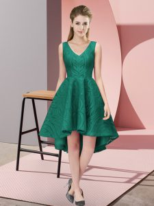 Peacock Green Lace Zipper Bridesmaid Dress Sleeveless High Low Lace
