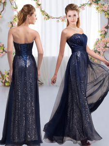 Charming Chiffon and Sequined Sweetheart Sleeveless Lace Up Sequins Wedding Guest Dresses in Navy Blue