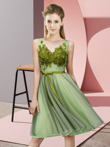 Gorgeous Yellow Green V-neck Lace Up Appliques Wedding Guest Dresses Sleeveless