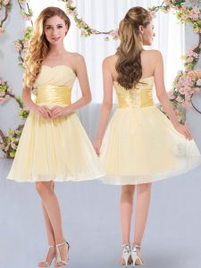 Glittering Mini Length Lace Up Wedding Party Dress Yellow for Wedding Party with Belt