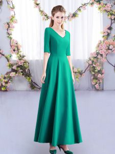 Ideal Half Sleeves Zipper Ankle Length Ruching Bridesmaids Dress