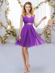 V-neck Sleeveless Zipper Bridesmaid Gown Eggplant Purple Chiffon