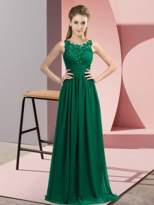 Sophisticated Peacock Green Sleeveless Chiffon Zipper Bridesmaid Gown for Wedding Party
