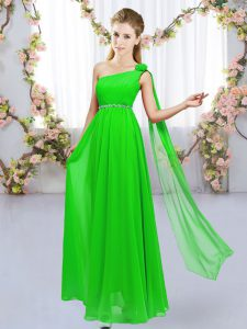 Empire Wedding Party Dress One Shoulder Chiffon Sleeveless Floor Length Lace Up