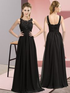 Black Empire Beading and Appliques Bridesmaids Dress Zipper Chiffon Sleeveless Floor Length