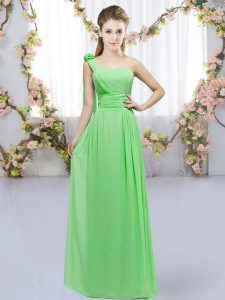 Lace Up One Shoulder Hand Made Flower Bridesmaids Dress Chiffon Sleeveless