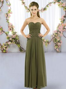 Lovely Chiffon Sweetheart Sleeveless Lace Up Ruching Wedding Party Dress in Olive Green