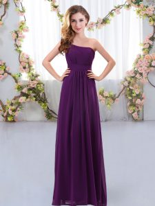 Empire Bridesmaid Dress Dark Purple One Shoulder Chiffon Sleeveless Floor Length Zipper