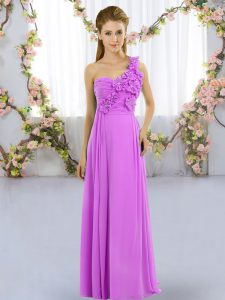 On Sale Lilac Sleeveless Chiffon Lace Up Bridesmaid Dress for Wedding Party