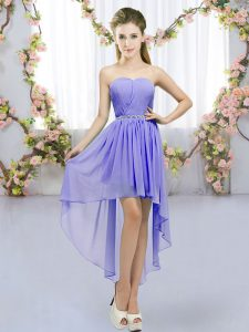 Affordable Lavender Bridesmaid Dress Wedding Party with Beading Sweetheart Sleeveless Lace Up