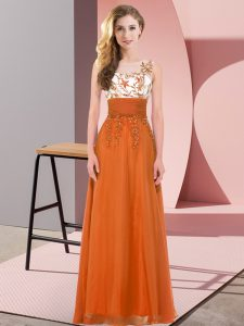 Orange Red Sleeveless Floor Length Appliques Backless Bridesmaid Dresses