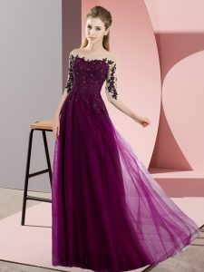 Great Fuchsia Empire Beading and Lace Bridesmaids Dress Lace Up Chiffon Half Sleeves Floor Length