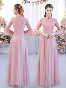 Pink Empire High-neck 3 4 Length Sleeve Tulle Floor Length Zipper Lace Wedding Party Dress