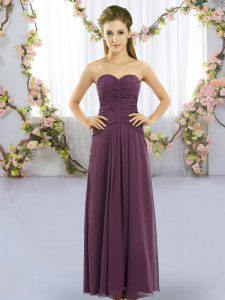 Most Popular Dark Purple Sweetheart Neckline Ruching Wedding Party Dress Sleeveless Lace Up