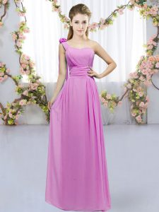 Floor Length Lace Up Wedding Party Dress Lilac for Wedding Party with Hand Made Flower