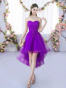 Charming High Low Eggplant Purple Bridesmaid Dress Sweetheart Sleeveless Lace Up