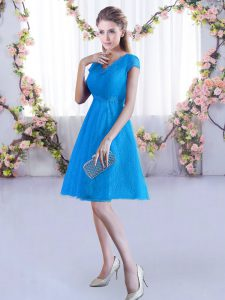 High Class Baby Blue Lace Up Wedding Guest Dresses Lace Cap Sleeves Mini Length